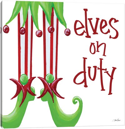 Elves on Duty Square Canvas Art Print