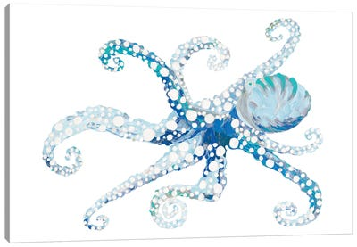 Azul Dotted Octopus II Canvas Art Print