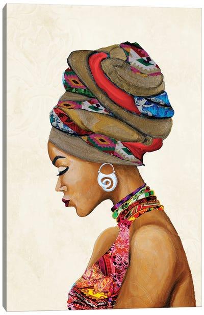 African Goddess on Beige Canvas Art Print