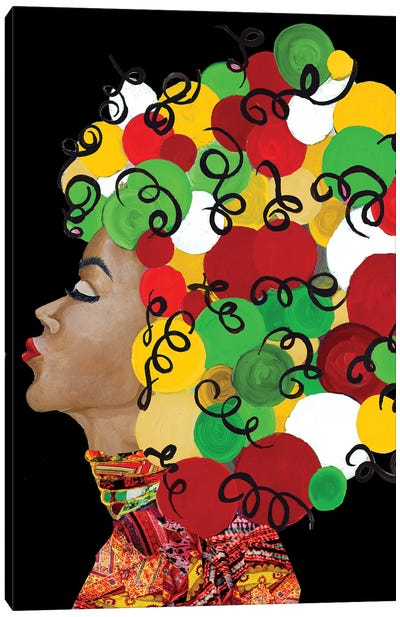 African Goddess With Colorful Hair Canvas Art Print