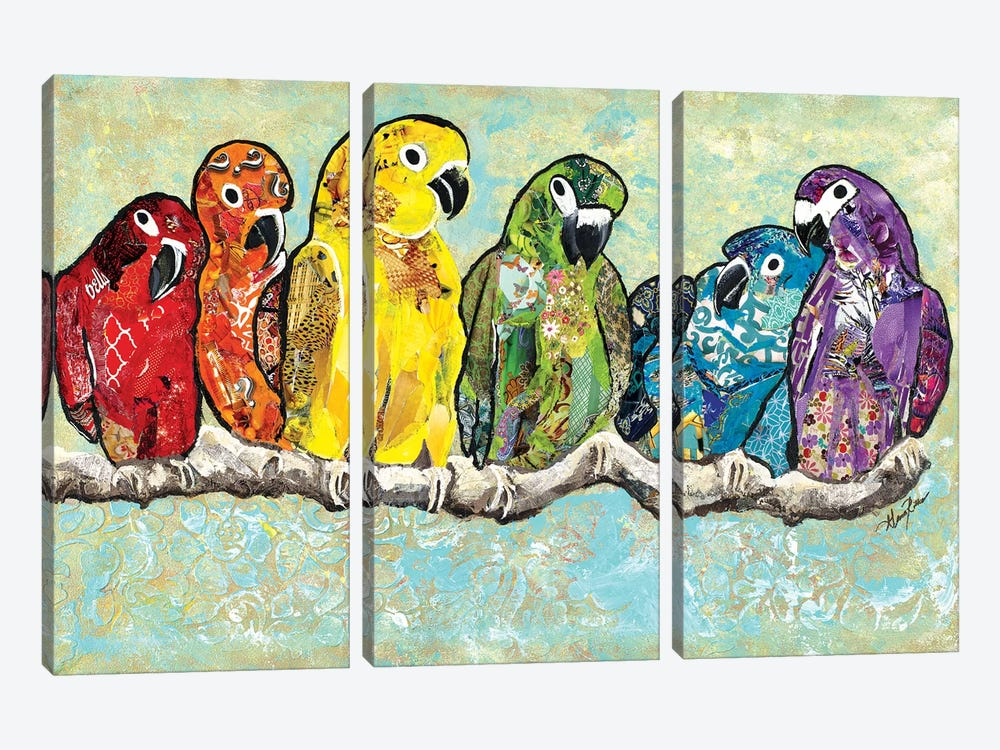Flock of Colors by Gina Ritter 3-piece Canvas Art Print
