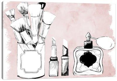 Makeup Set on Blush Canvas Art Print