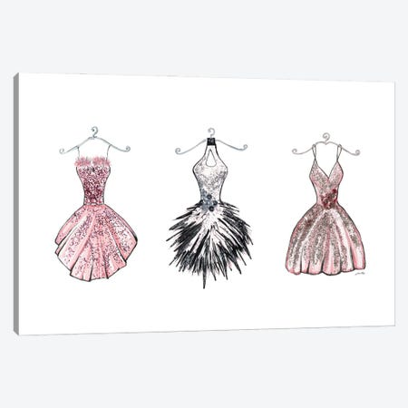 Sparkling Dress Trio Canvas Print #RTR65} by Gina Ritter Canvas Art