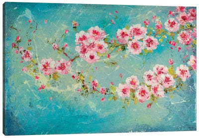 Pink Cherry Blossoms Canvas Art Print