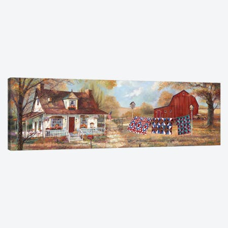 Afternoon Quilting 3-Piece Canvas #RUA100} by Ruane Manning Canvas Print
