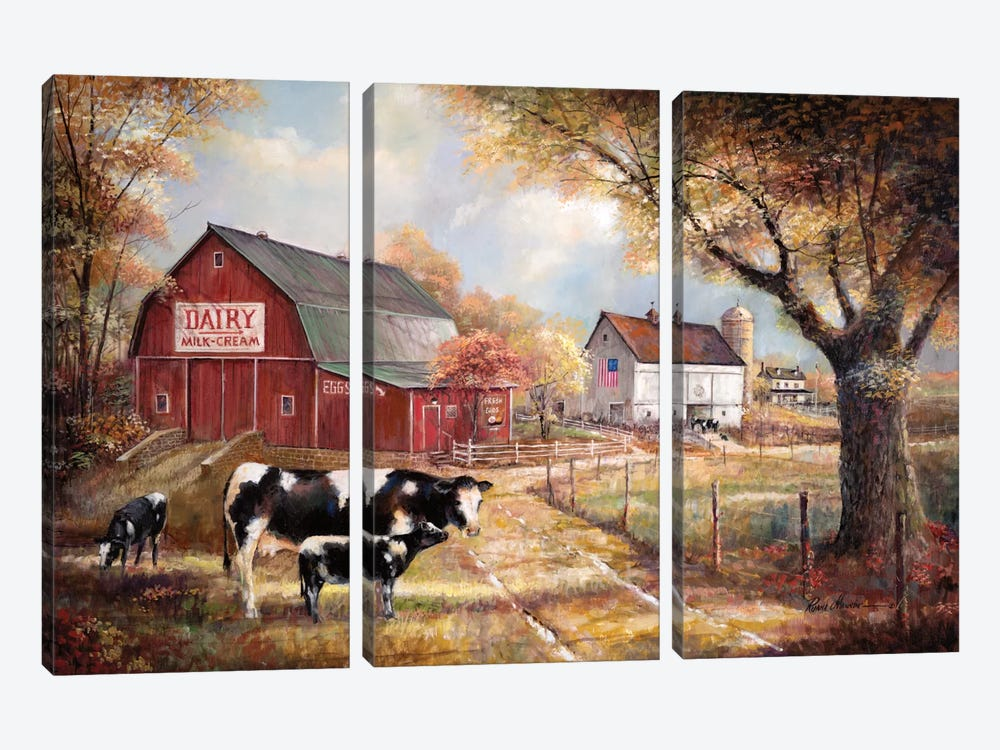 Memories On The Farm by Ruane Manning 3-piece Canvas Wall Art
