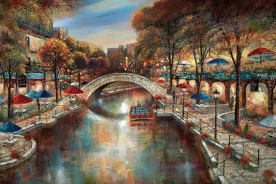 Evening On The Canal Canvas Print By Ruane Manning Icanvas