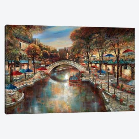 Evening On The Canal Canvas Print #RUA109} by Ruane Manning Art Print
