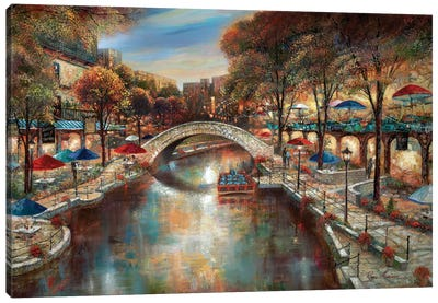 Evening On The Canal Canvas Art Print