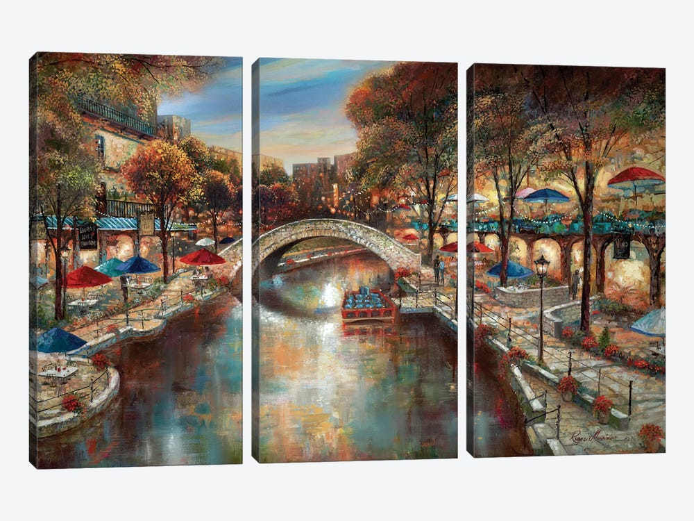 Evening On The Canal by Ruane Manning 3-piece Canvas Artwork