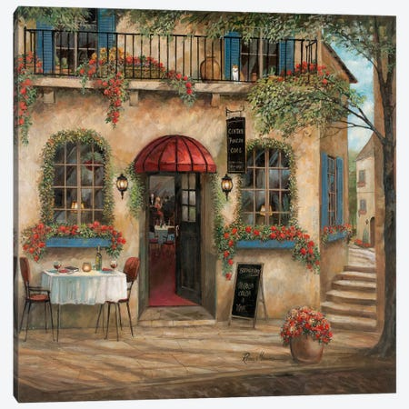 Centro Piazza Café Canvas Print #RUA118} by Ruane Manning Canvas Wall Art