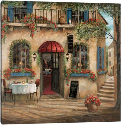 Centro Piazza Café Canvas Art Print