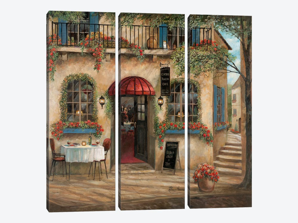 Centro Piazza Café by Ruane Manning 3-piece Canvas Wall Art