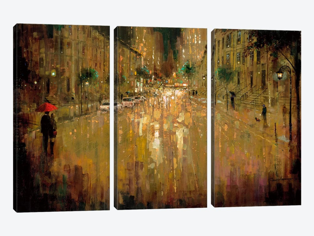 Brownstone Romance by Ruane Manning 3-piece Canvas Artwork