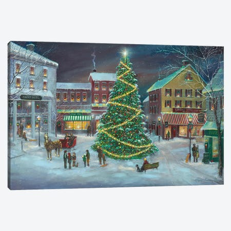 Village Square Canvas Print #RUA134} by Ruane Manning Art Print