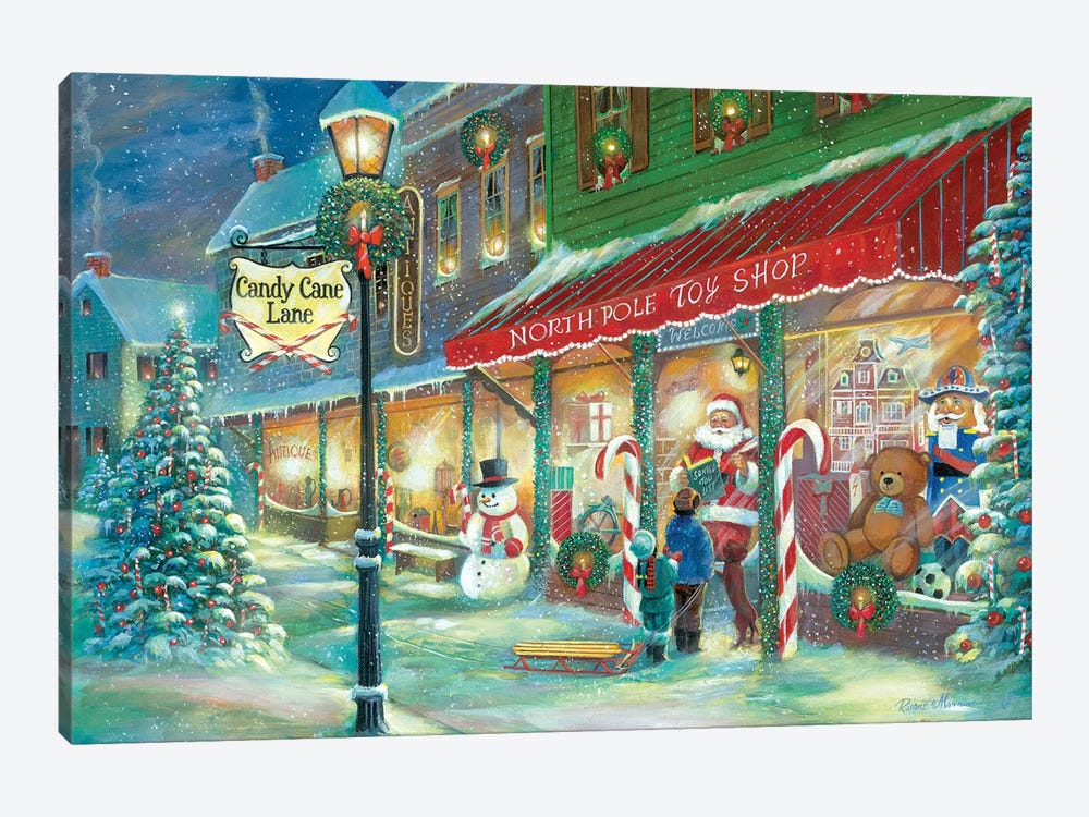 Candy Cane Lane by Ruane Manning 1-piece Canvas Art Print