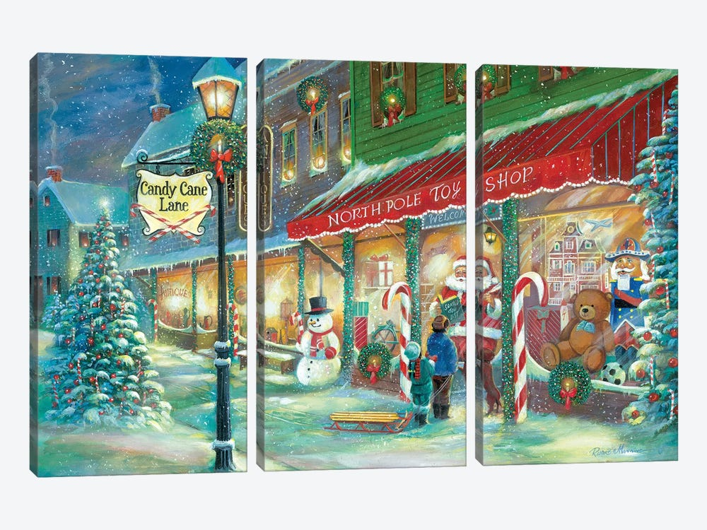 Candy Cane Lane by Ruane Manning 3-piece Canvas Art Print