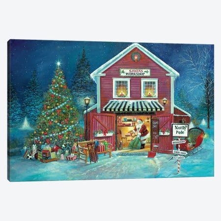 Santa's Workshop Canvas Print #RUA137} by Ruane Manning Canvas Art Print