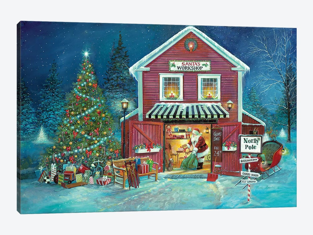 Santa's Workshop by Ruane Manning 1-piece Canvas Art Print