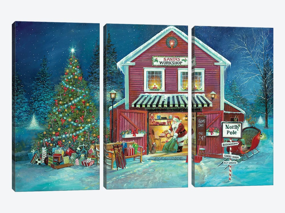 Santa's Workshop by Ruane Manning 3-piece Canvas Print