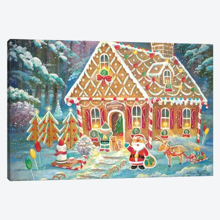 Santa's Ginger Workshop Canvas Print #RUA138} by Ruane Manning Canvas Art