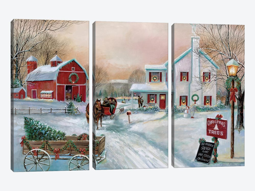 Christmas Tree Farm by Ruane Manning 3-piece Canvas Print
