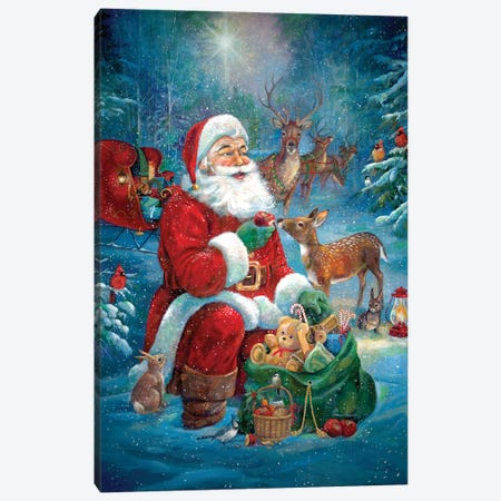 Santa's Woodland Friends Canvas Print #RUA142} by Ruane Manning Art Print