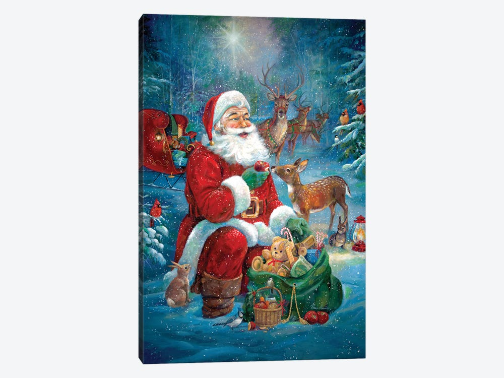 Santa's Woodland Friends by Ruane Manning 1-piece Canvas Print