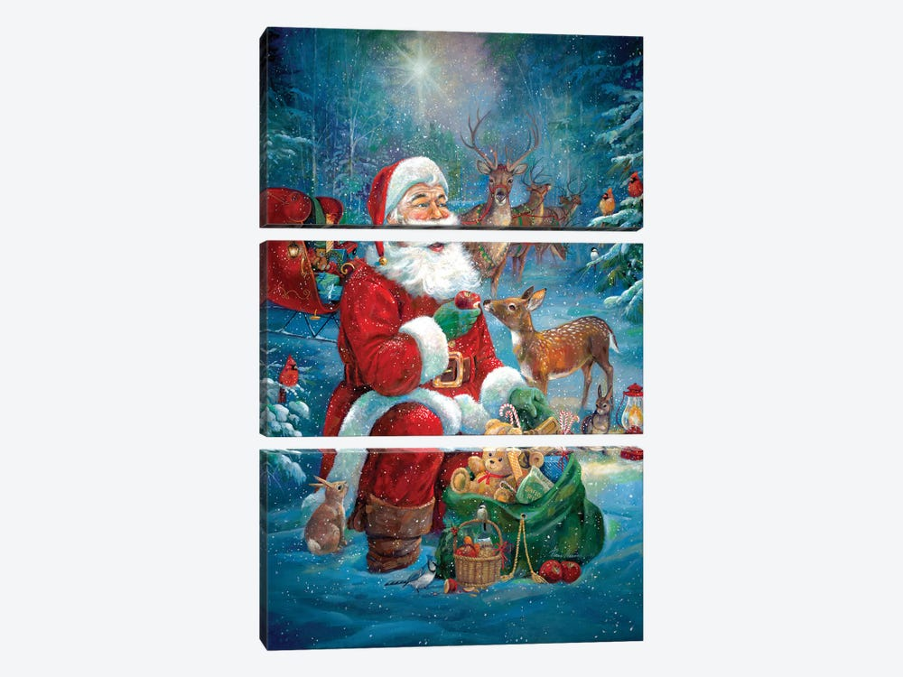 Santa's Woodland Friends by Ruane Manning 3-piece Canvas Art Print