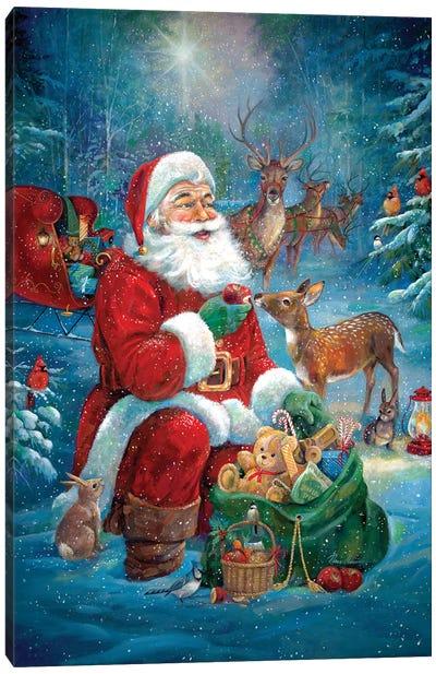 Santa's Woodland Friends Canvas Art Print