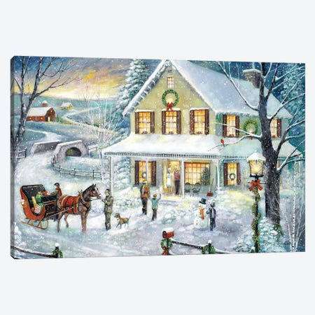Christmas Visit Canvas Print #RUA146} by Ruane Manning Canvas Artwork