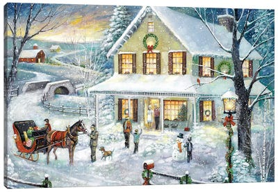 Christmas Visit Canvas Art Print