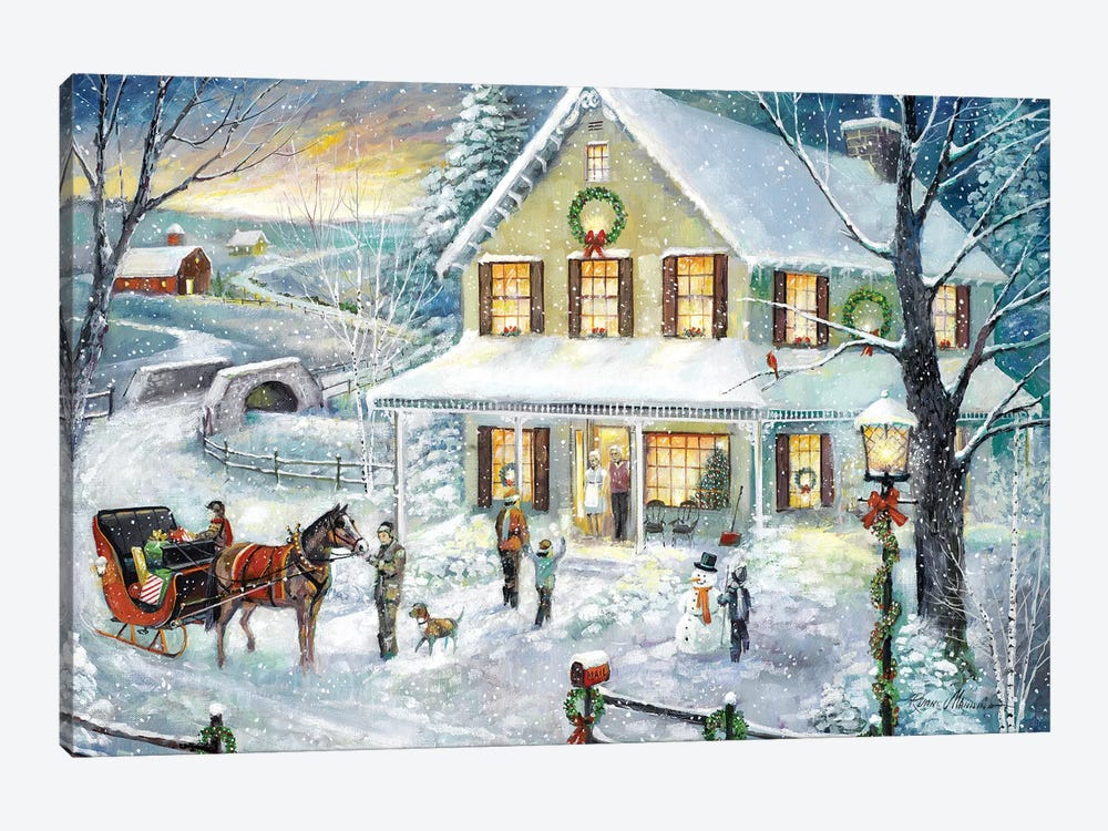 Christmas Visit by Ruane Manning 1-piece Canvas Art Print