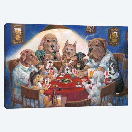 Poker Dogs Canvas Print #RUA149} by Ruane Manning Canvas Art Print