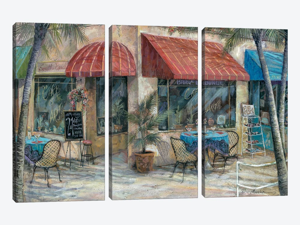 Café Of The Arts by Ruane Manning 3-piece Canvas Print