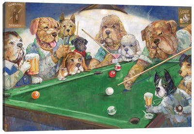 Pool Dogs Canvas Art Print