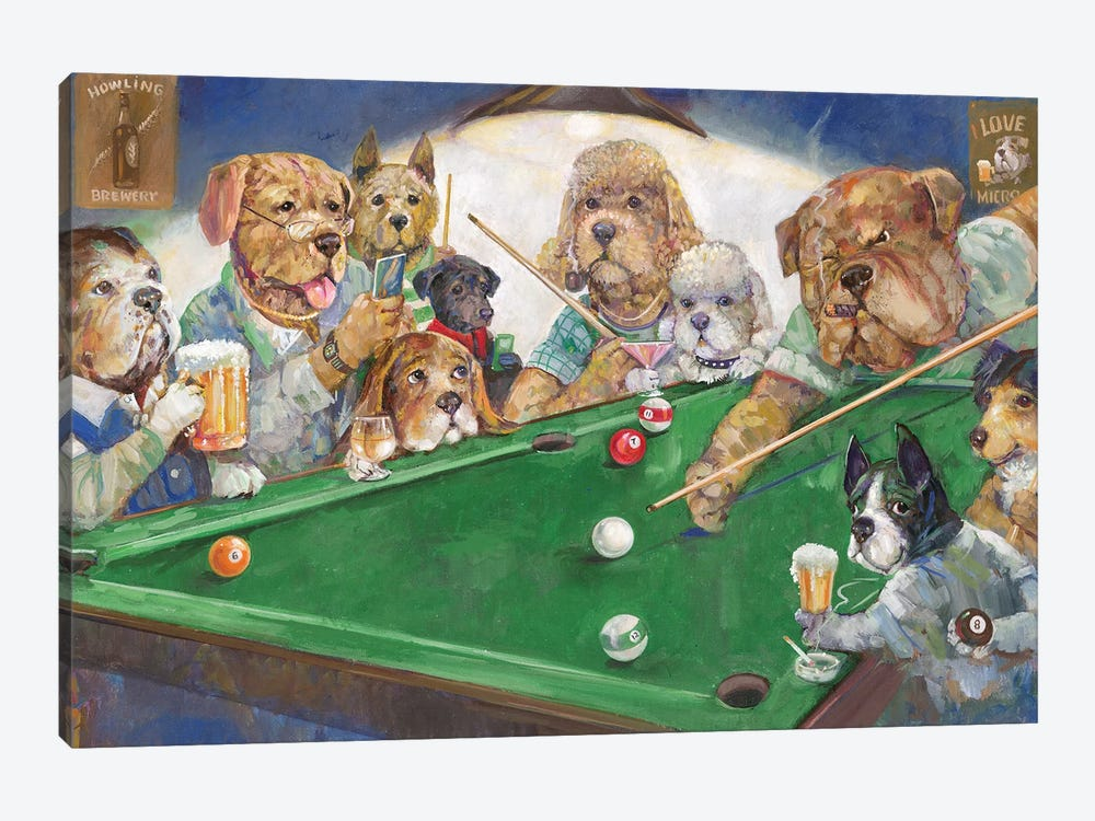 Pool Dogs by Ruane Manning 1-piece Canvas Wall Art