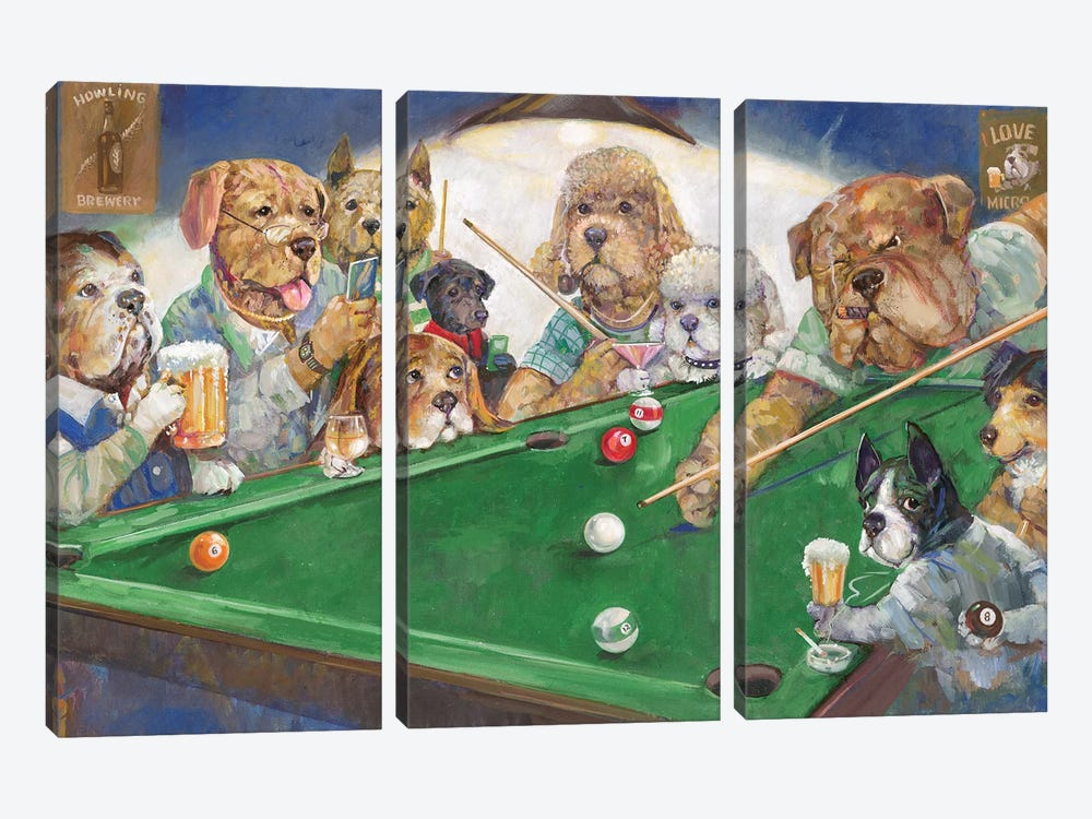 Pool Dogs by Ruane Manning 3-piece Canvas Art