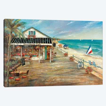 Boardwalk Café Canvas Print #RUA162} by Ruane Manning Canvas Art Print