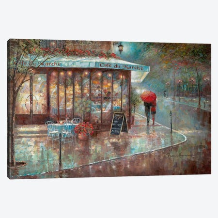 Café du Marche Canvas Print #RUA164} by Ruane Manning Canvas Artwork