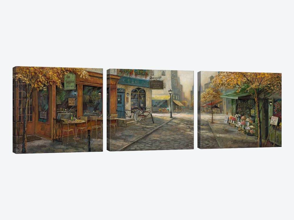 Quaint City Nostalgia by Ruane Manning 3-piece Canvas Wall Art