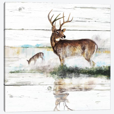 Rustic Misty Deer Canvas Print #RUA191} by Ruane Manning Canvas Wall Art