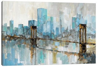 Teal City Shadows Canvas Art Print