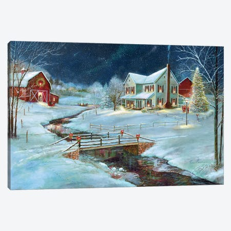 Christmas on the Farm Canvas Print #RUA208} by Ruane Manning Canvas Wall Art