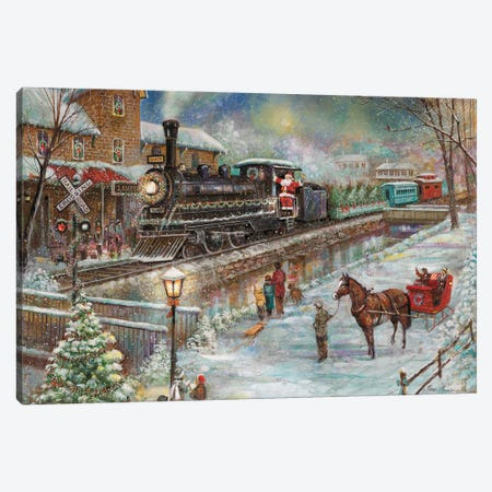 Christmas Train Canvas Print #RUA209} by Ruane Manning Canvas Art
