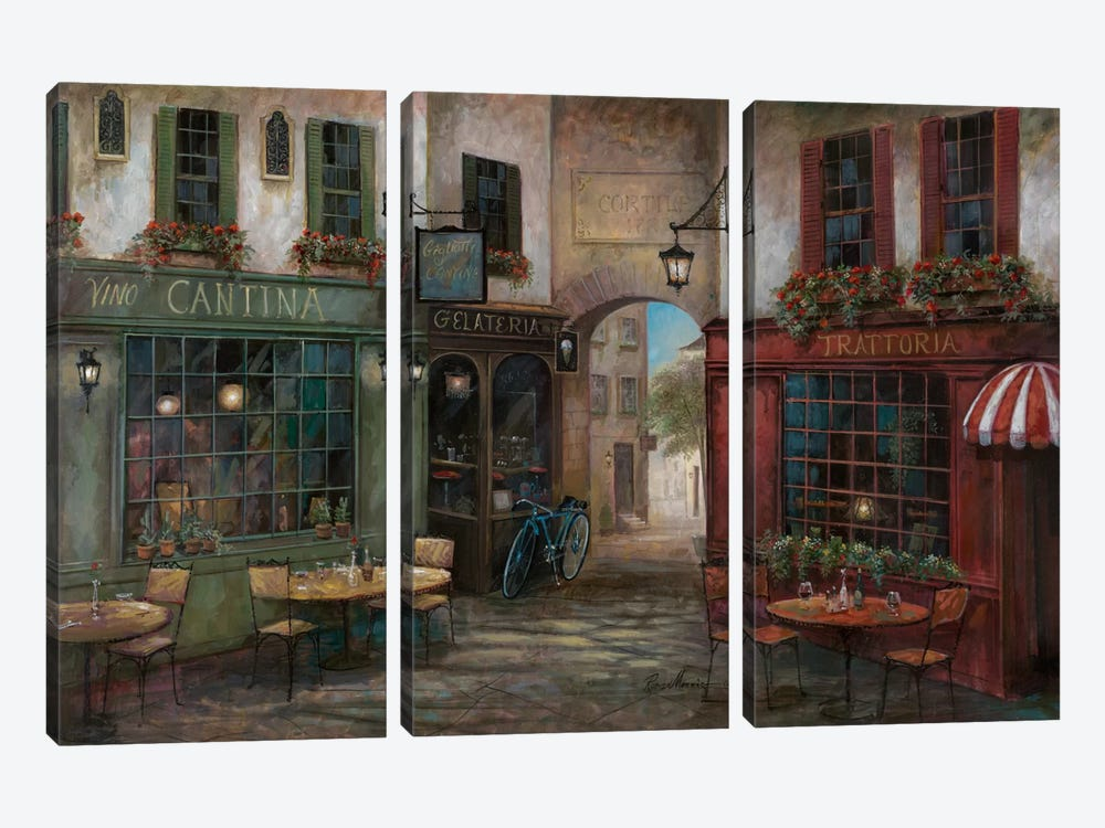 Courtyard Ambiance by Ruane Manning 3-piece Canvas Wall Art