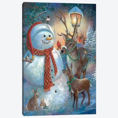 Hello Mr. Snowman! Canvas Print #RUA214} by Ruane Manning Canvas Artwork