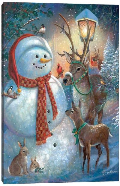 Hello Mr. Snowman! Canvas Art Print