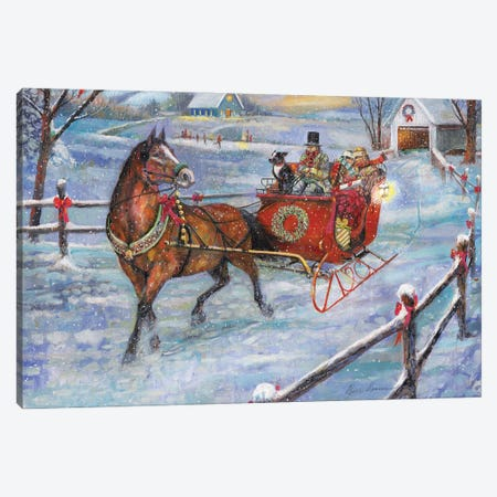 Sleigh Bells Canvas Print #RUA220} by Ruane Manning Canvas Artwork