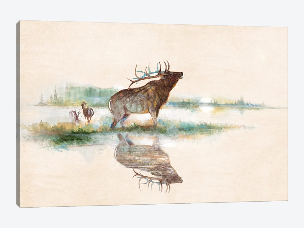 Misty Elk by Ruane Manning 1-piece Canvas Art